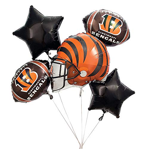 Fun Express - Nfl Cincinatti Bengals Balloon Set (5pc) for Party - Party Supplies - Licensed Tableware - Misc Licensed Tableware - Party - 5 Pieces