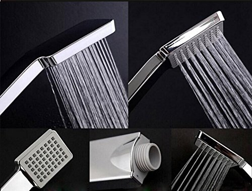 RENIST C001 Stianless Steel Handheld Shower Head Square High Pressure Single Function Water Combo Rainfall Showerd Head with handheld Chrome
