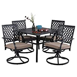 """Garden and Outdoor MFSTUDIO 5 Piece Black Metal Outdoor Patio Dining Furniture Set with 4 Swivel Chairs and 37″ Steel Frame Slat Larger Square Table with 1.57"""" Umbrella Hole for Garden, Lawn, Poolside, Balcony patio dining sets"""