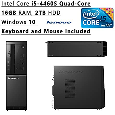 2016 New Edition Lenovo Ideacentre Quad-core High Performance Premium Slim Desktop, Intel Core i5-4460S 2.9 GHz Processor, 16 GB RAM, 2TB HDD+8GB SSD, DVD+/-RW, WiFi, HDMI, Bluetooth, Windows (Lenovo Elitebook)