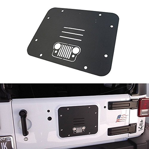 t-Plate Cover, Spare Tire Carrier Delete Filler Plate Tramp Stamp for 2007-2017 Jeep Wrangler JK & Unlimited (Grille) (Spare Plate)