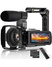 """Videocamera 2.7K Camcorder UHD 36MP Vlogcamera voor YouTube IR Nachtzicht 3.0 """"LCD-touchscreen 16x digitale zoom Camerarecorder met microfoon Handheld stabilisator Afstandsbediening, 2 batterijen"""