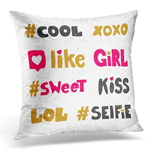 Emvency Throw Pillow Covers Case White Blog Cute XOXO Like Girl Sweet Kiss LOL Selfie Hashtags Stickers for Social Media Content Site Chat Decorative Pillowcase Cushion Cover 16 x 16 Inches