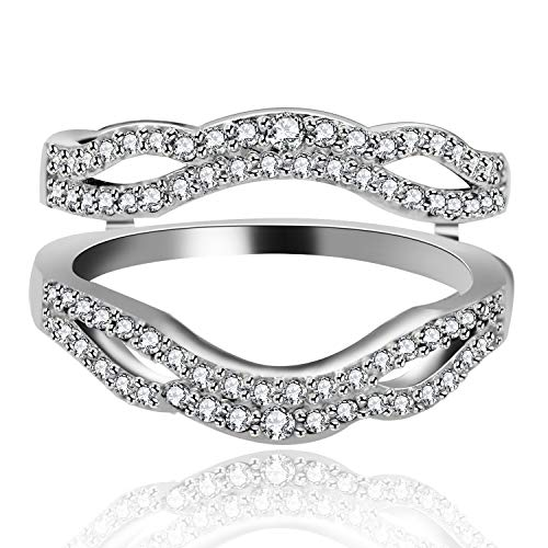 Anniversary Ring Guard - Uloveido Women 925 Silver Infinity Ring Enhancer for Wedding Engagement Anniversary Cubic Zirconia Rings Enhancer Guard for Girls Women Size 6 Y481