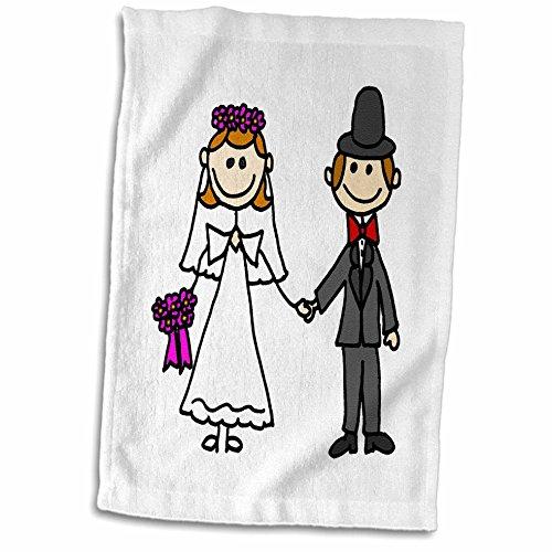 Stick Figure Wedding - 3dRose Funny Stick Figure Wedding Bride and Groom Towel, 15