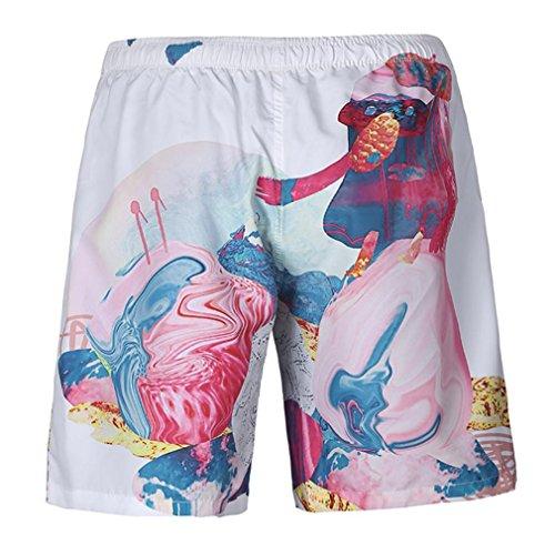 iZHH Men's Summer Casual Plus Size 3D Printed Beach Shorts Pants (Directoire 3 Light)