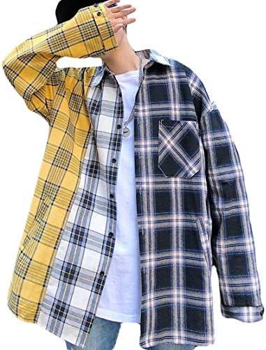 (バイバン)シャツ メンズ トップス 長袖 切り替え チェックシャツ ゆったり ストリート系 薄手 ファッション 春服