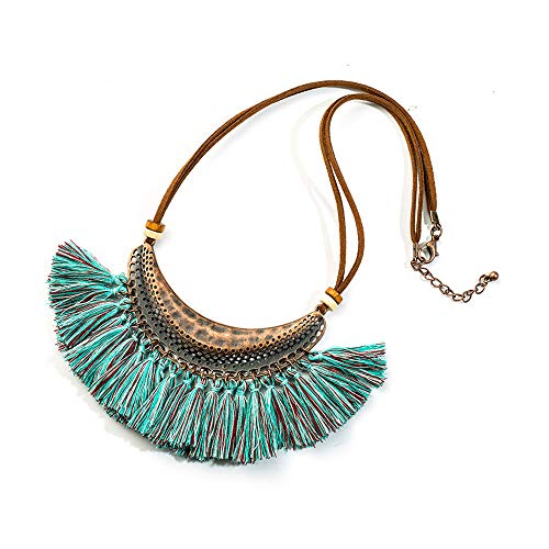 (CARMELA HILL WILLIAMS Ethnic Tassel Pendant Necklace for Women Leather Rope Chain Choker Clothing Jewelry Accessories)