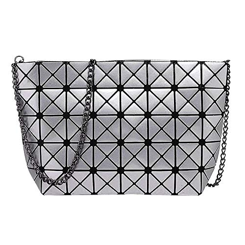 (Mily Laser PU Evening Party Clutch Handbag Crossbody Shoulder Bag with Chain Strap Silver Gray)