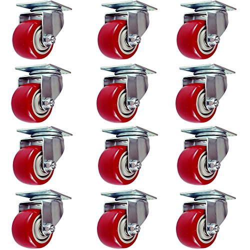 Pack of 12 Caster Wheels Swivel Plate on Red Polyurethane Wheels 5