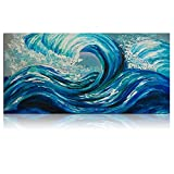 IARTS Wall Art Modern Design Seascape Ocean Wave 100% Hand Painted Painting on Canvas Wall Art for Home and Office Decorations,Blue,18X36 inches (Ready to Hang)