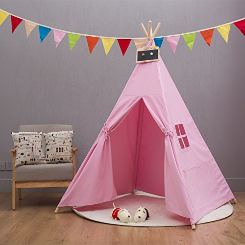 indianer tipi zelt kinder indoor spielzelt f rs wohnzimmer wei 4 eckig pink g nstig online kaufen. Black Bedroom Furniture Sets. Home Design Ideas