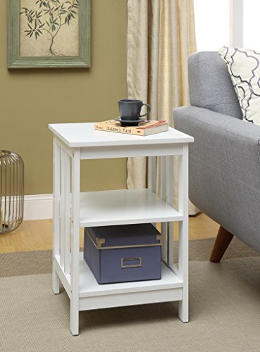 White Finish Wooden Chair Side End Table with 3-tier Shelf