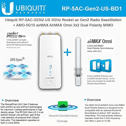 Ubiquiti RP-5AC-GEN2-US 5GHz AC airPrism BaseStation + AMO-5G10 10dBi Omni Antenna (US Version) by UBNT