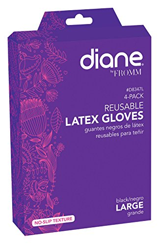Reusable Black Latex Color Gloves 4 pack Large