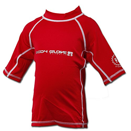 (Body Glove Basic Deluxe Junior's Short Sleeve Rash Guard Swimwear UVP 50 with Wind Burn Protection Red, Toddler )