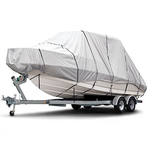 (Budge 1200 Denier Boat Cover fits Hard Top/T-Top Boats B-1221-X6 (20' to 22' Long, Gray))