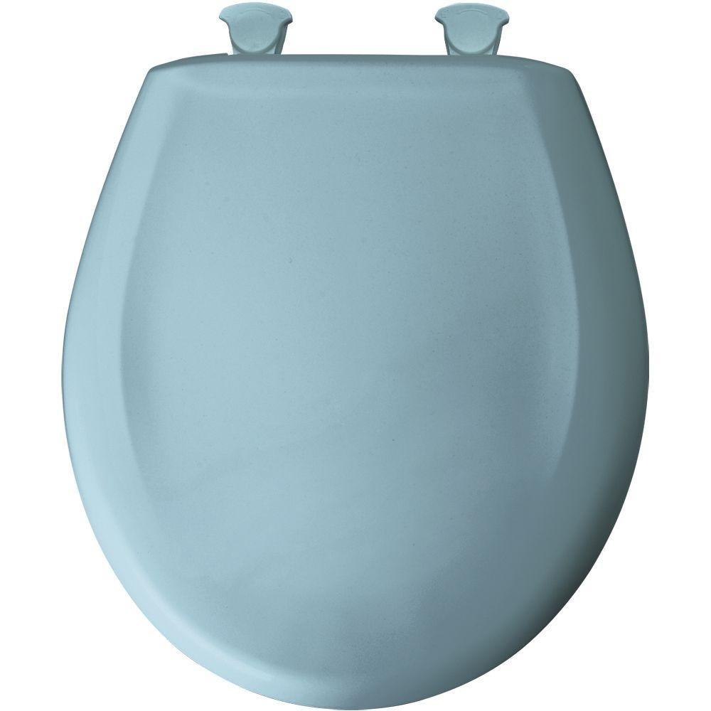 Bemia|#Bemis 200SLOWT 024 Slow Close Sta-Tite Round Closed Front Toilet Seat, Twilight Blue,