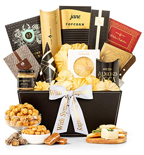 GiftTree Metropolitan Gourmet Sympathy Gift Basket | Assorted Candy, Pistachios, Dried Pineapple, Cookie Brittle, Toffee Popcorn | Display Heartfelt Warmth and Compassion