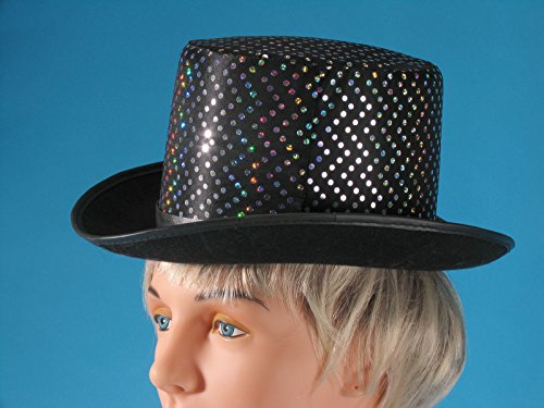Loftus International Silver Dots Magician Sparkly Top Hat, Black, One Size -