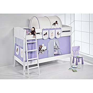 Children S Bed Set Purple Horse Design Curtain Cabin Bed Mid Sleeper