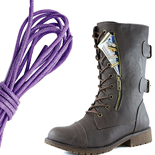 DailyShoes Womens Military Lace Up Buckle Combat Boots Mid Knee High Exclusive Credit Card Pocket, Purple Brown Pu