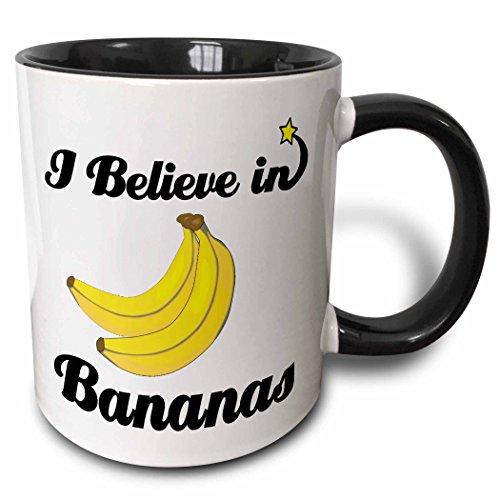 - 3dRose 104765_4 I I Believe In Bananas Two Tone Black Mug, 11 oz, White