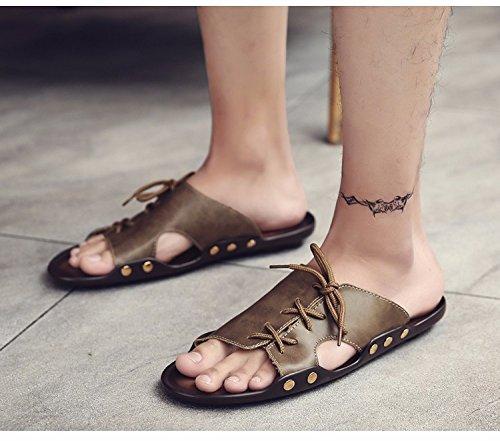 Sommer Sandalen Männer Breathable Trend Schuh Flip Flop Männer Strand Schuh Ultra-Licht Trend Schuh Sandalen, Khaki1, UK = 7,5, EU = 41 1/3