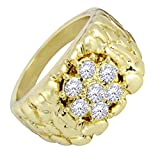 Cluster Nugget 14k Gold Tone AAA Cz Hip Hop Bling Pinky Ring (9)