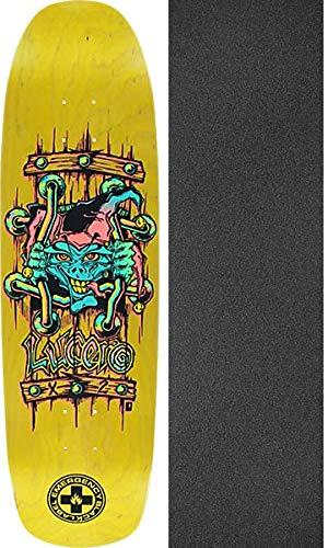 驚いた岩借りているBlack Label スケートボード John Lucero X2 イエローステインスケートボードデッキ - 8.88インチ x 32.25インチ モブグリップ穴あきグリップテープ付き - 2点セット
