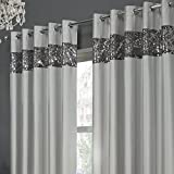 Tony's Textiles Rio Sequin Embroidered Eyelet Grommet Set of 2 Lined Curtain Panels Silver Gray 46″ Wide x 54″ Drop Review