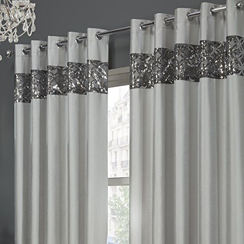 Tony's Textiles Rio Sequin Embroidered Eyelet Grommet Set of 2 Lined Curtain Panels Silver Gray 66