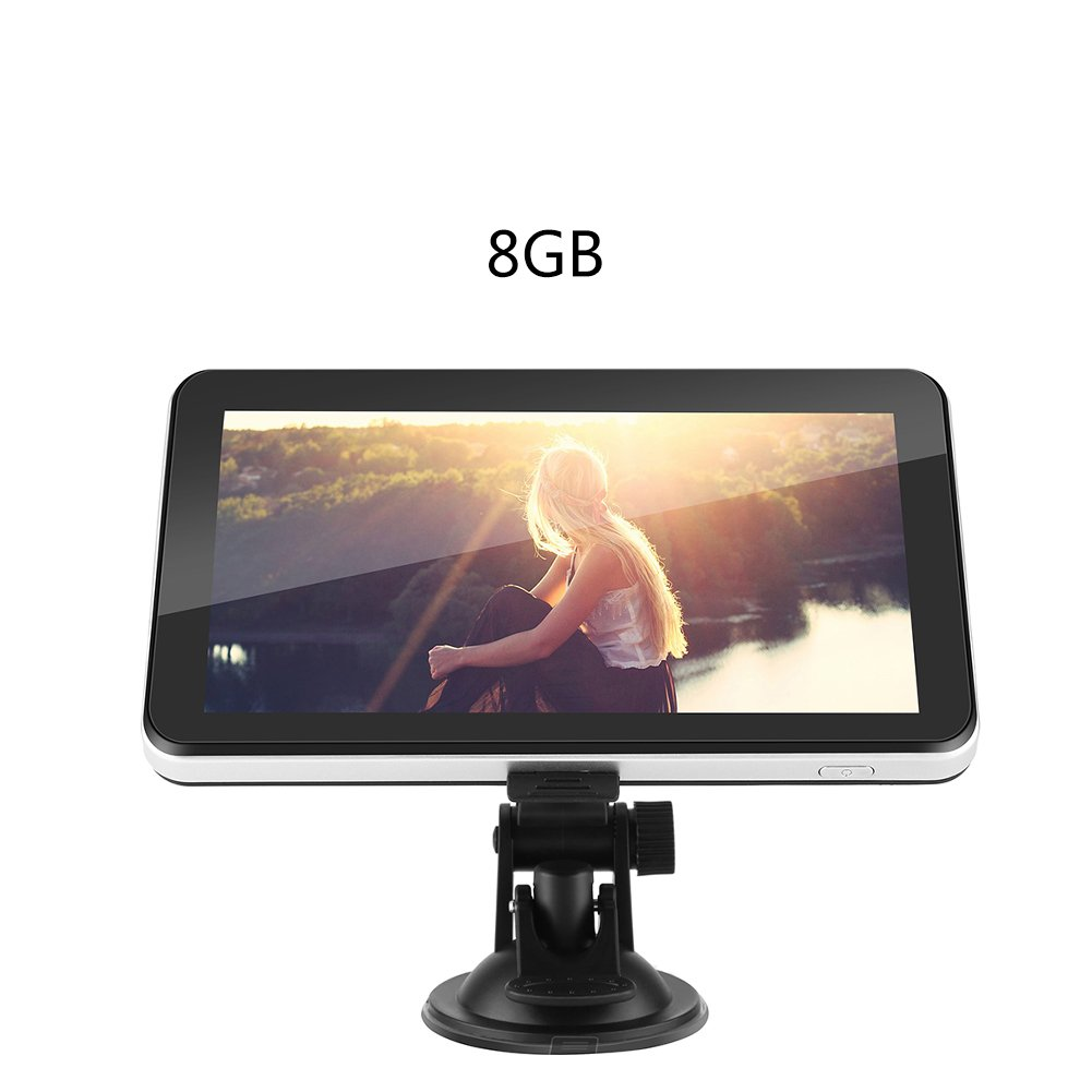 7 Inch GPS Navigation Device 128M 8GB, International Touch Screen GPS Navigator Multimedia FM Maps System Device for Car Vehicle Truck(North America)