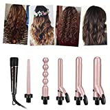 5 in 1 Curling Iron Set, inkint Professional Curling Wand With 5 Interchangeable Ceramic Barrels and Heat Resistant Glove for Women Long Short Hair