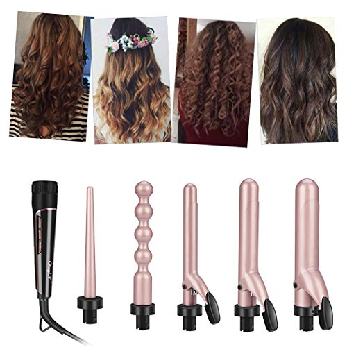 (5 in 1 Curling Iron Set, inkint Professional Curling Wand With 5 Interchangeable Ceramic Barrels and Heat Resistant Glove for Women Long Short Hair)