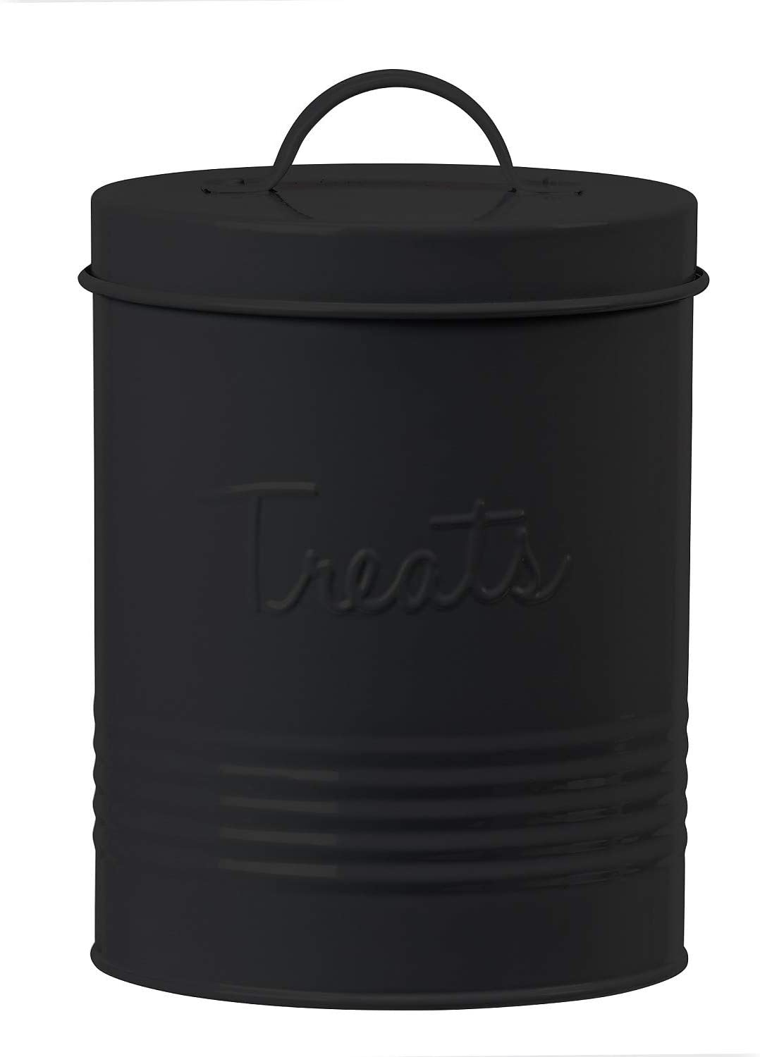 Amici Pet Retro Metal Storage Canister Treats Jar, 72 Fluid Ounces, Matte Black