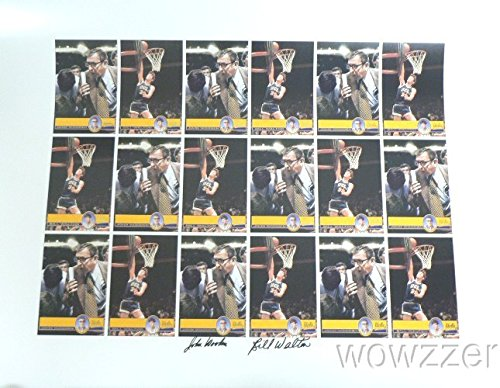 John Wooden & Bill Walton Awesome Hand Signed AUTOGRAPH HUGE UCLA Uncut Card Sheet $300 PSA/DNA !! Legendary Hall of Famers HAND SIGNED 100% Authentic ! ()