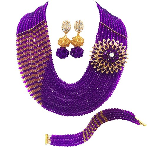 aczuv 10 Rows Fashion African Wedding Beads Nigerian Beaded Jewelry Set Bridal Party Jewelry Sets (Purple and Champagne Gold) (Beaded Purple Jewelry Set)