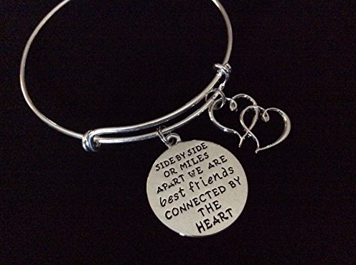 Best Friends Connected by the Heart Silver Expandable Charm Bracelet Stackable Bangles