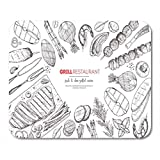 Mouse Pads Hand BBQ Grilled Meat and Vegetables Top View Engraved Design Grill Drawn Kebab Mouse Pad