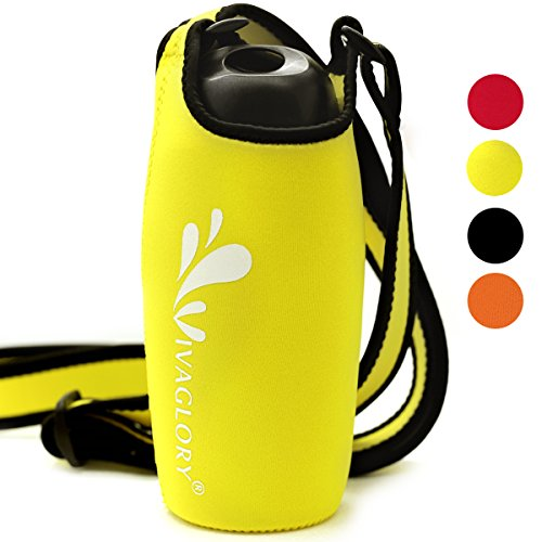Vivaglory Neoprene Bottle Sling with Wide Adjustable Shoulder Strap, Lightweight and Comfortable, Great for Kids and Adults, Yellow