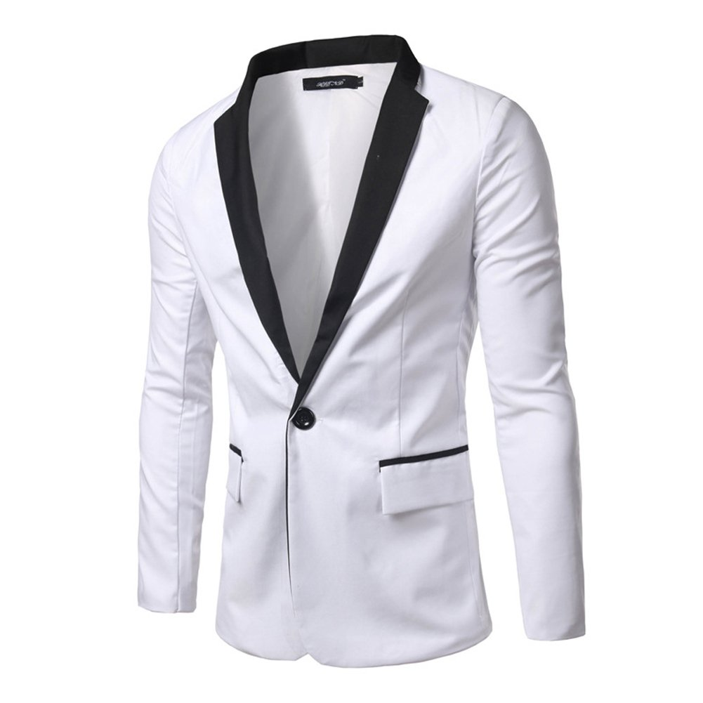 Moollyfox Mens Blazer Slim Fit Single-Breasted Dinner Tuxedo Jacket with Shawl Lapel and One-Button Fastening