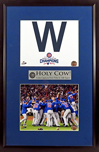 """Chicago Cubs """"2016 World Series Champions"""" 8x10 Stack Display (Feat. Win Flag, Celebration & Holy Cow!) Framed"""