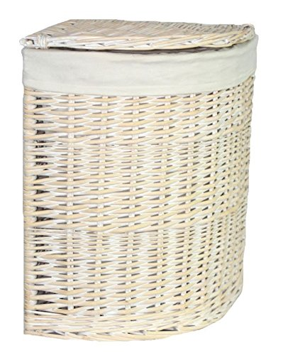 Red Hamper Small Corner White Wash Laundry Basket with a White Lining