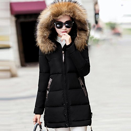 chaqueta de largo cálido delgado Mujeres parka abrigo SHOBDW abajo acolchado encapuchado Negro invierno OPx6nAw