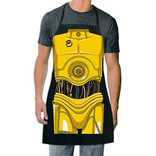 ICUP Star Wars - C-3PO Be The Character Adult Size 100% Cotton Adjustable Black Apron -