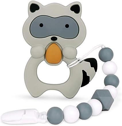 Raccoon Kids Baby Teether Silicone Pendant Pacifier Chewable Teething Toy