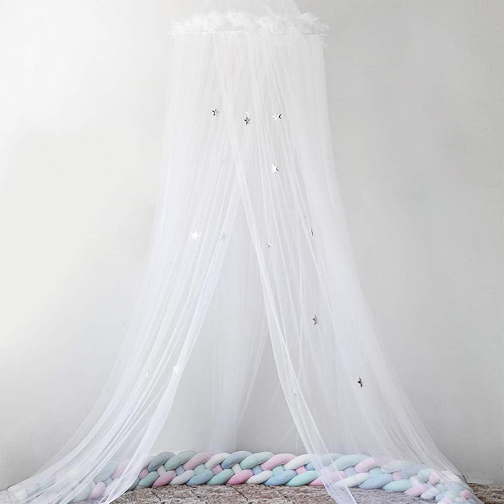 RainBabe Moustiquaire de B/éb/é et Adulte Filles Enfant Baldaquin Ciels de Lit D/ôme /Étoile Plume D/écoration de Chambre Princesse Tente Couronne Cadeau pour Enfants