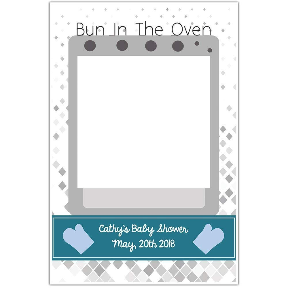 Bun In The Oven Boy Baby Shower Selfie Frame Poster
