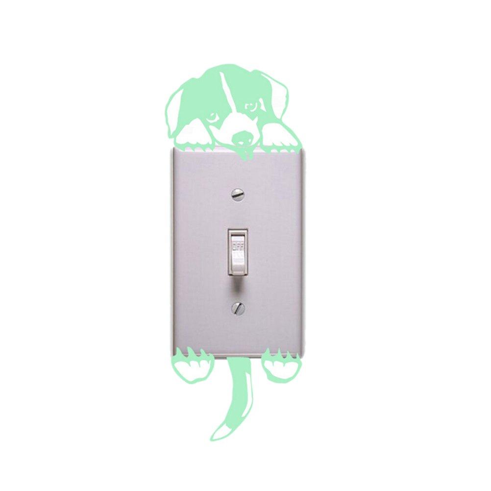 Happu-store(TM) 1 Pcs Puppy Luminous Switch Wall Sticker Cartoon Dog Kids Bedroom Decal Decor Z-SH-HG-101